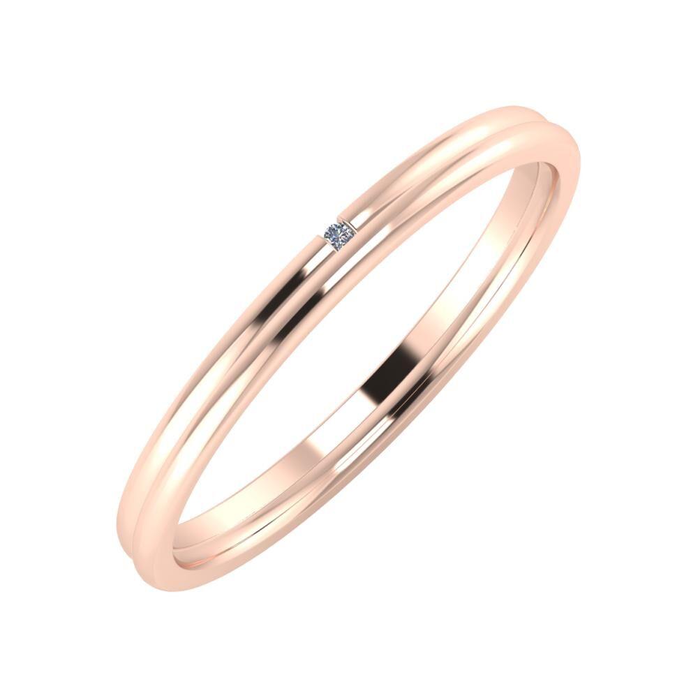 Adalind - Alexandra 2mm 14 karátos rosé arany karikagyűrű