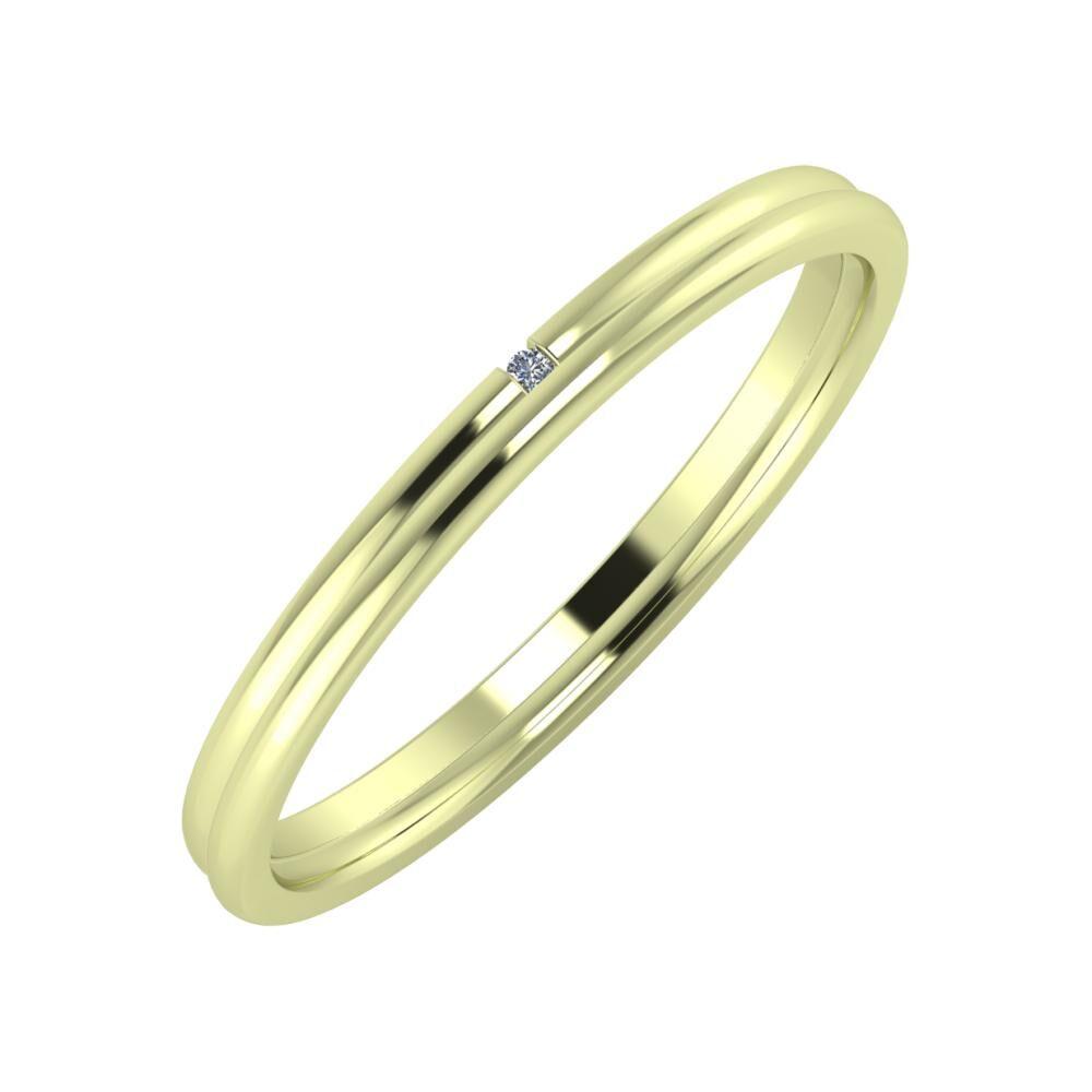 Adalind - Alexandra 2mm 14 karátos zöld arany karikagyűrű