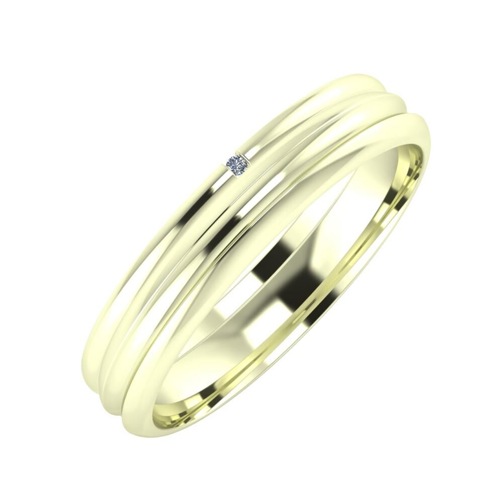 Adalind - Alexandrin 4mm 22 karátos fehér arany karikagyűrű