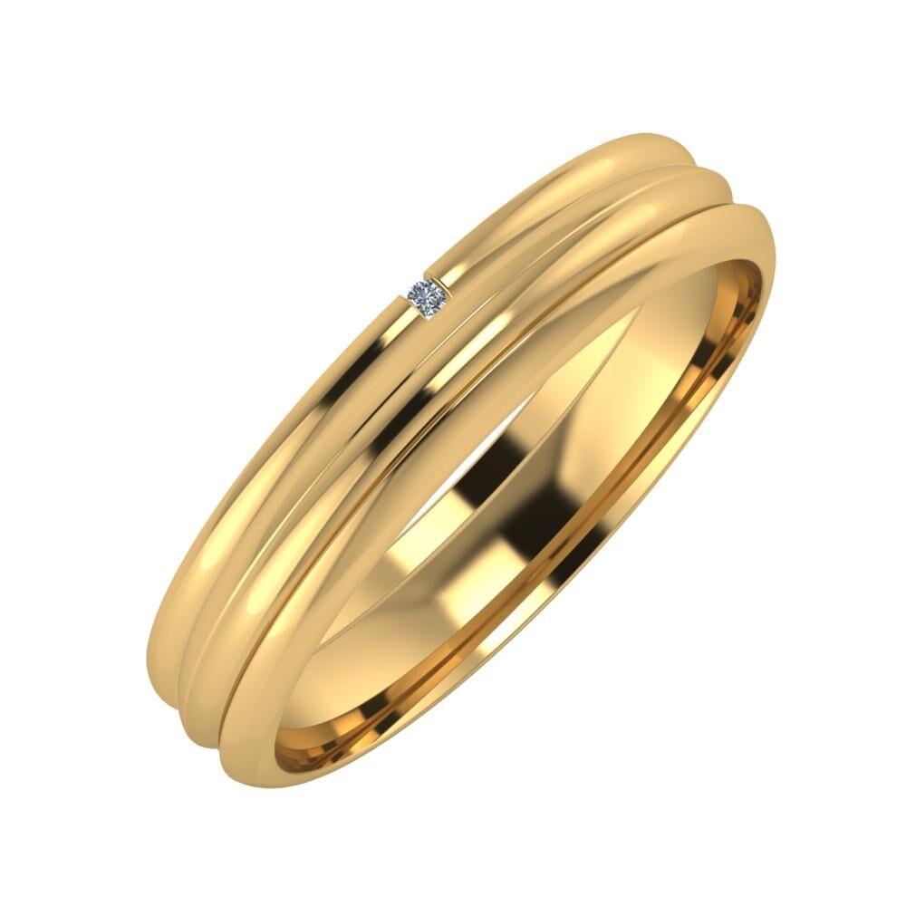 Adalind - Alexandrin 4mm 22 karátos sárga arany karikagyűrű