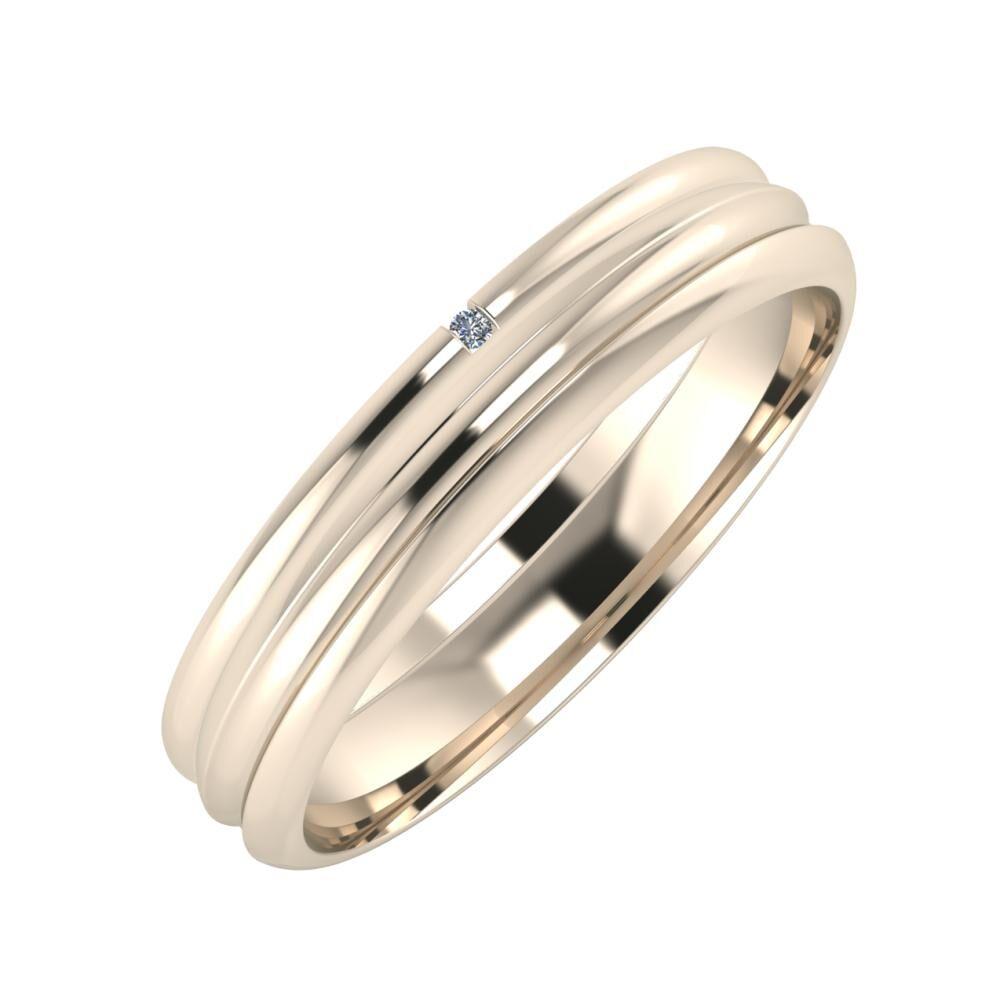 Adalind - Alexandrin 4mm 22 karátos rosé arany karikagyűrű