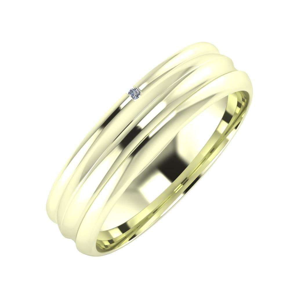 Adalind - Alexandrin 5mm 22 karátos fehér arany karikagyűrű