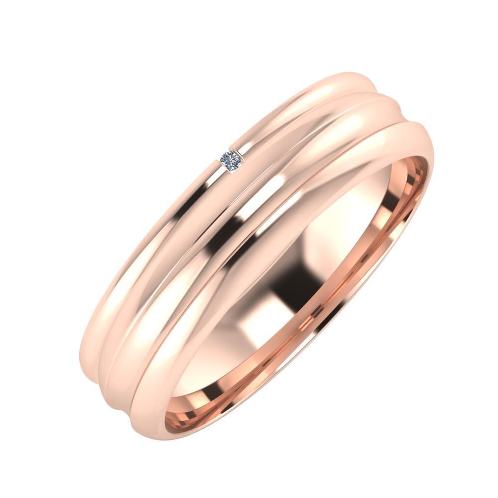 Adalind - Alexandrin 5mm 14 karátos rosé arany karikagyűrű