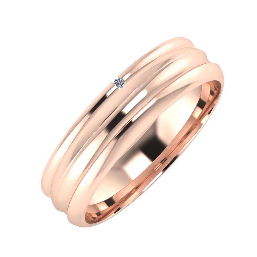 Adalind - Alexandrin 5mm 18 karátos rosé arany karikagyűrű