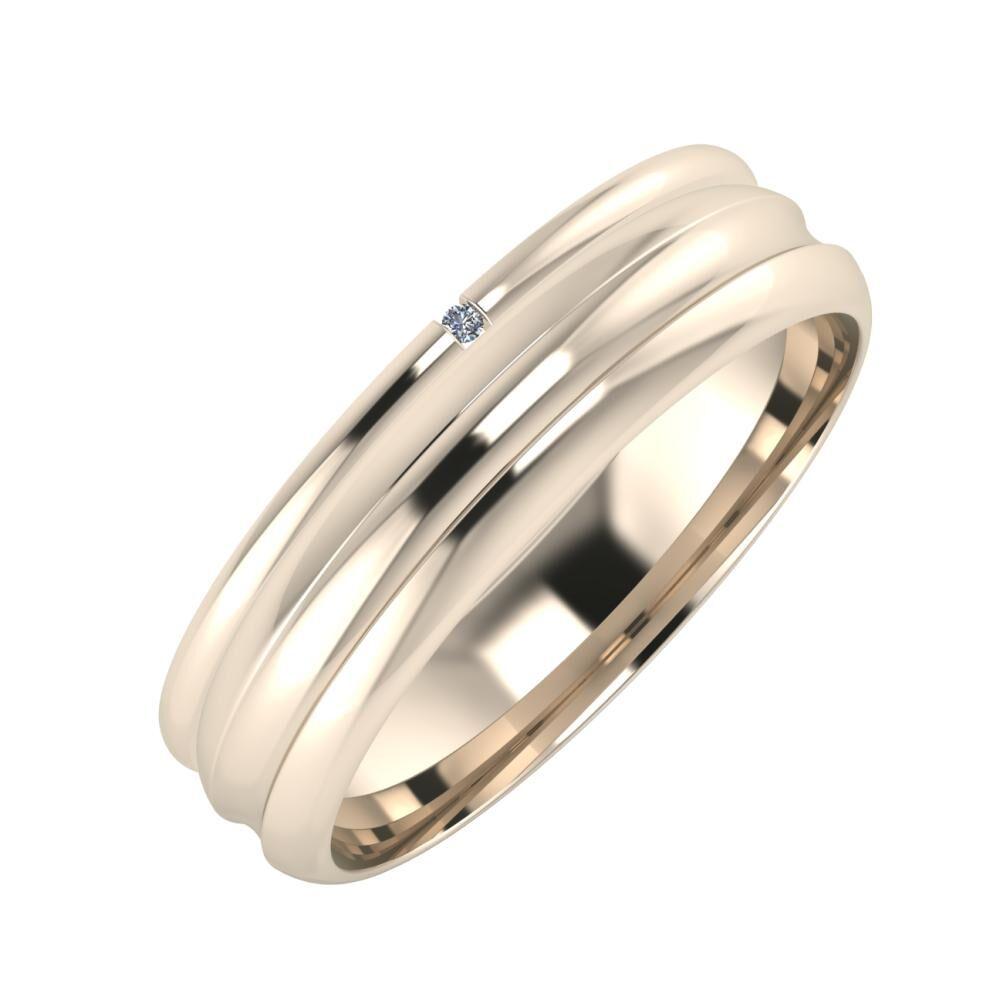 Adalind - Alexandrin 5mm 22 karátos rosé arany karikagyűrű