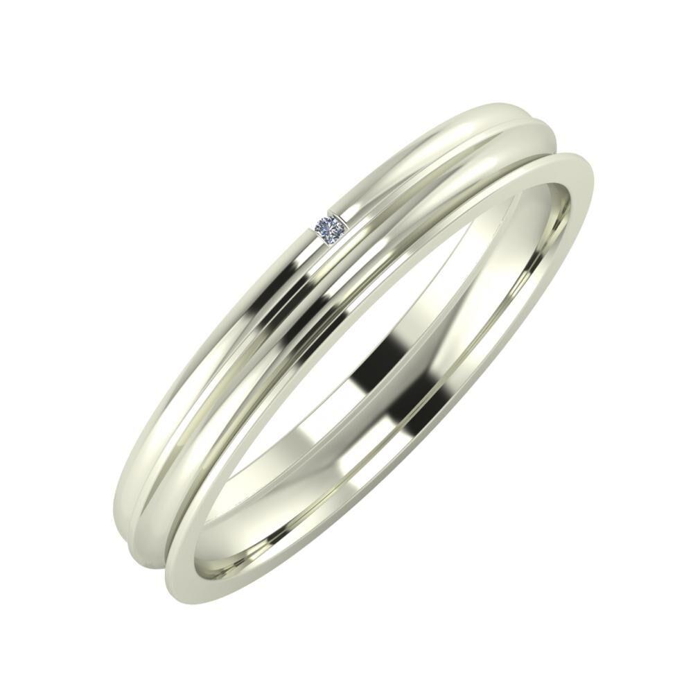 Adalind - Alexandrina 3mm 18 karátos fehér arany karikagyűrű