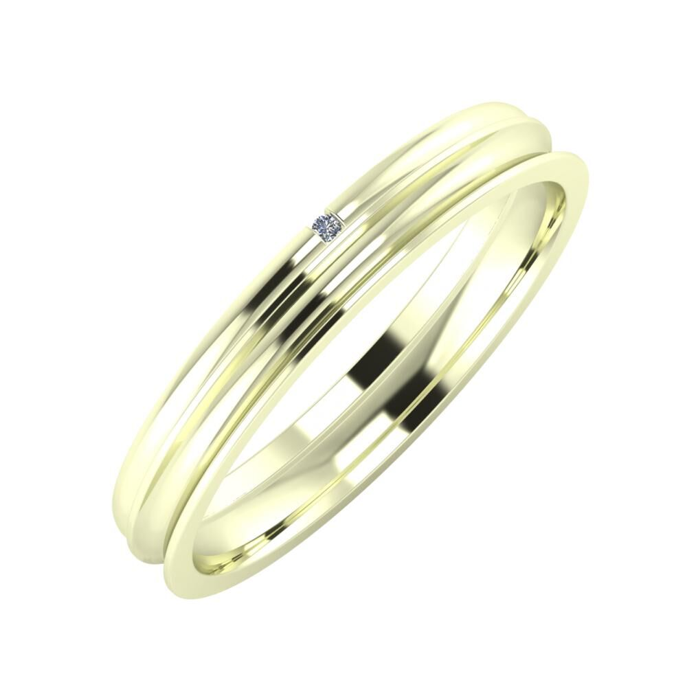 Adalind - Alexandrina 3mm 22 karátos fehér arany karikagyűrű