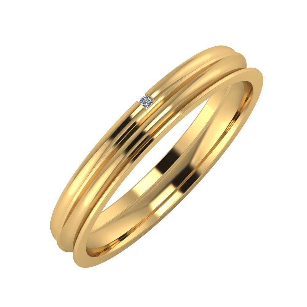 Adalind - Alexandrina 3mm 18 karátos sárga arany karikagyűrű