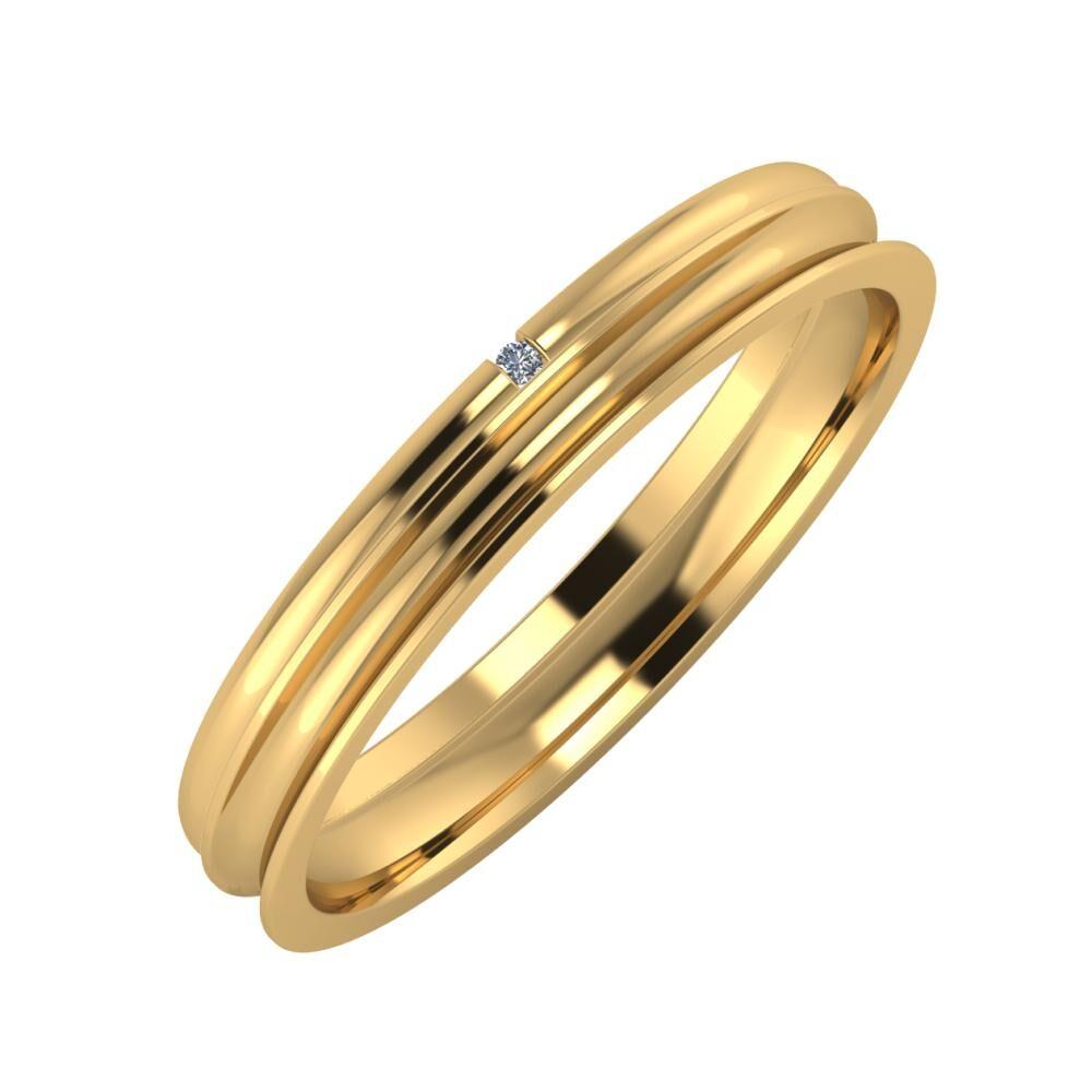 Adalind - Alexandrina 3mm 22 karátos sárga arany karikagyűrű