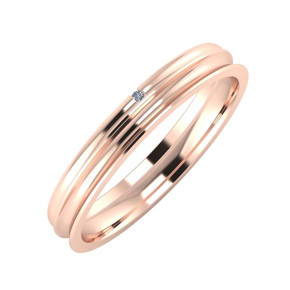 Adalind - Alexandrina 3mm 14 karátos rosé arany karikagyűrű