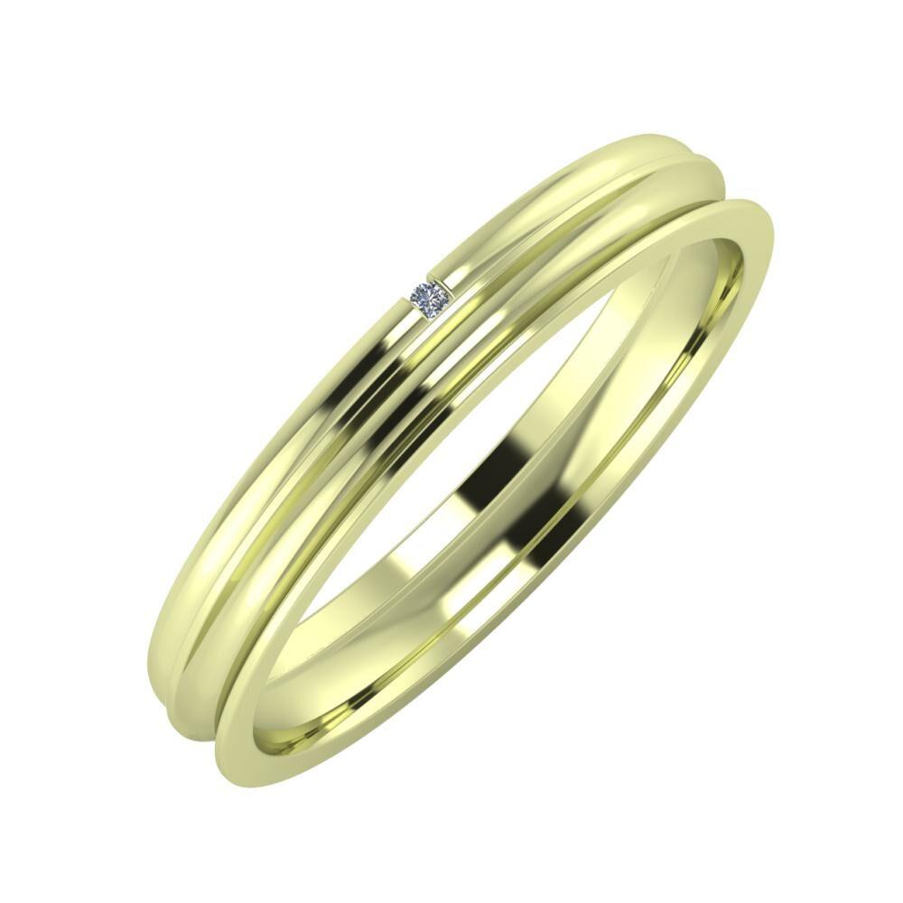 Adalind - Alexandrina 3mm 14 karátos zöld arany karikagyűrű