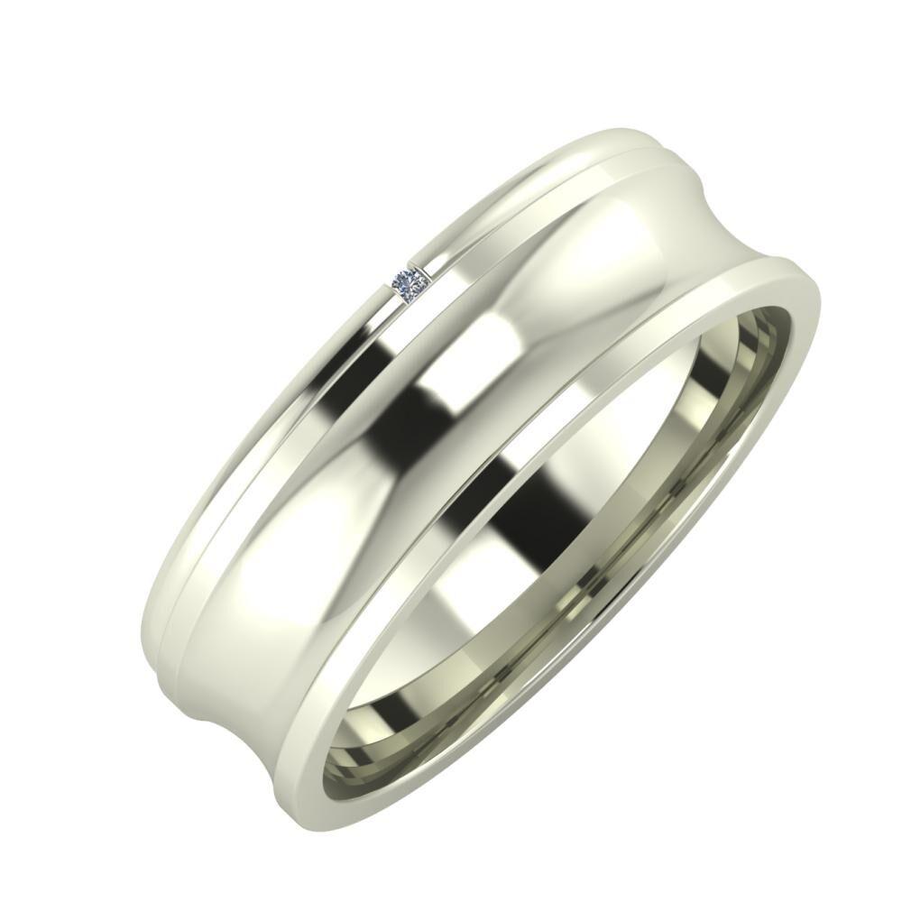 Adalind - Alexandrina 6mm 14 karátos fehér arany karikagyűrű