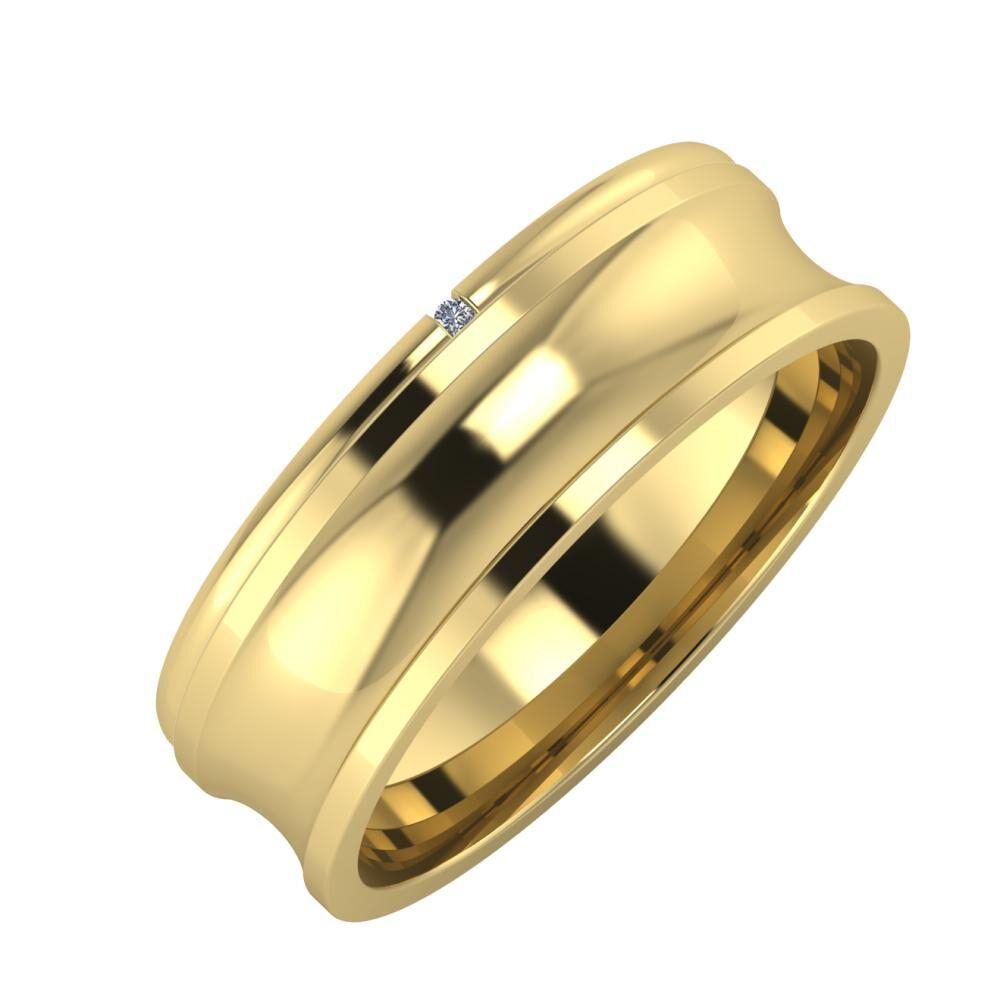 Adalind - Alexandrina 6mm 14 karátos sárga arany karikagyűrű