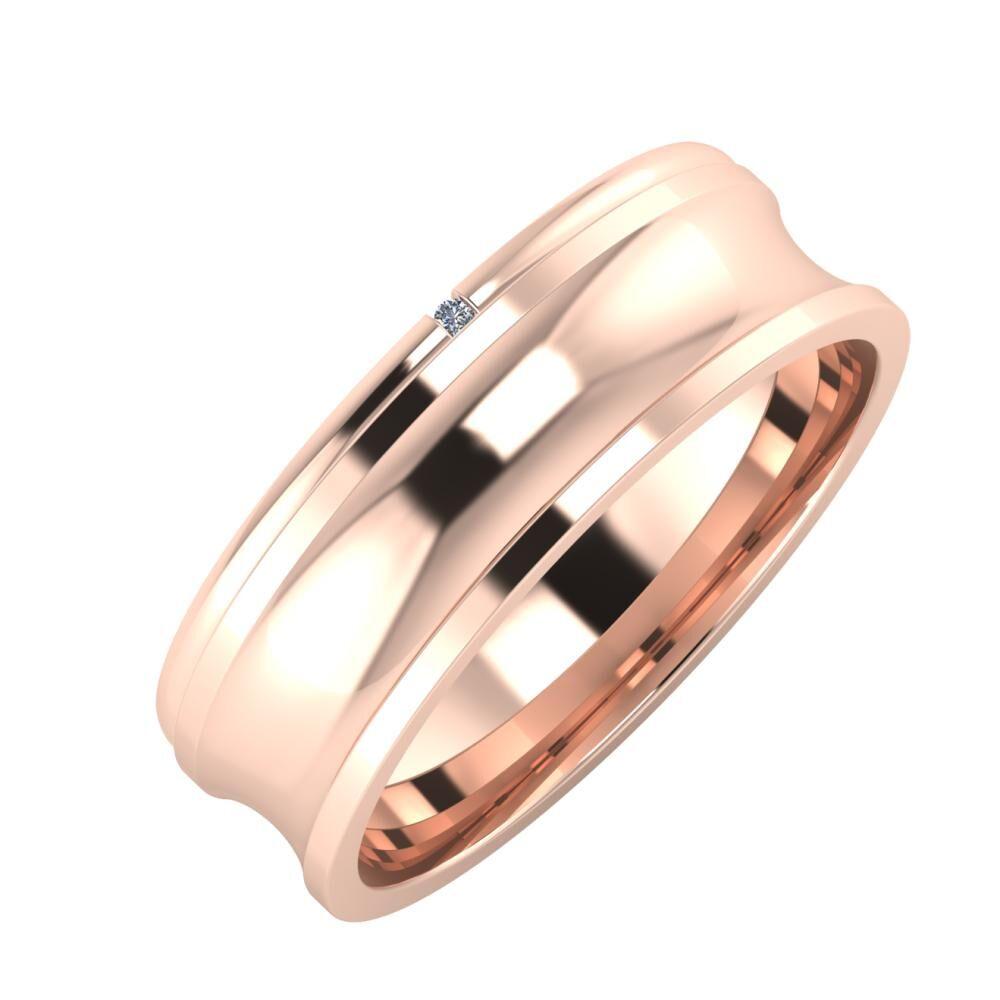 Adalind - Alexandrina 6mm 14 karátos rosé arany karikagyűrű