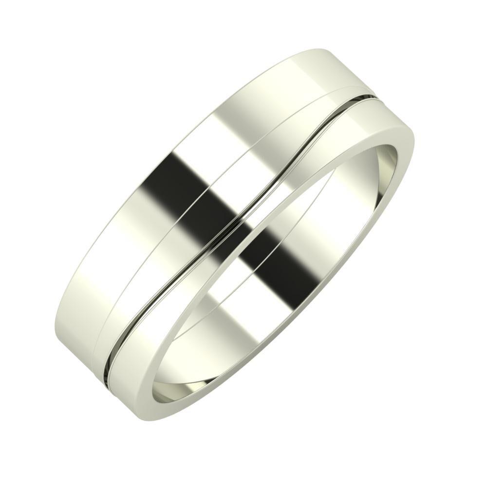 Adela - Adelinda 6mm 14 karátos fehér arany karikagyűrű