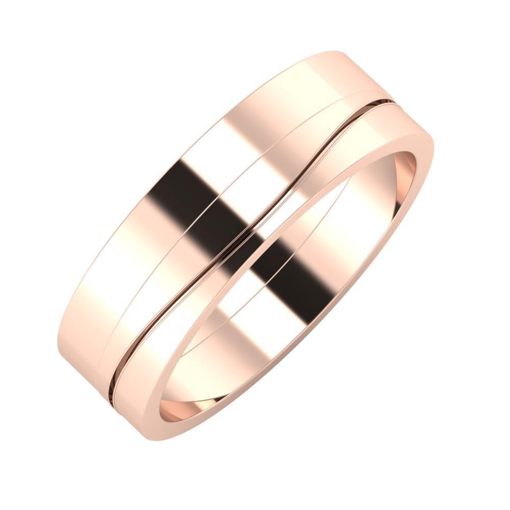 Adela - Adelinda 6mm 14 karátos rosé arany karikagyűrű