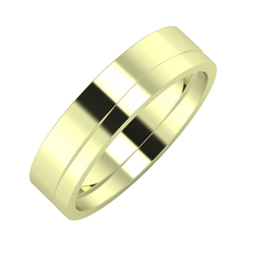 Adela - Adria 5mm 14 karátos zöld arany karikagyűrű