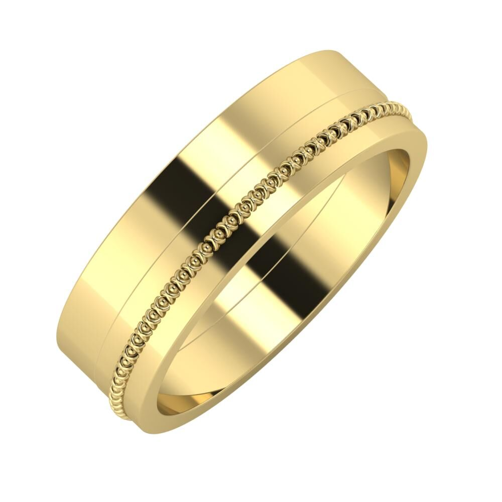 Adela - Afrodita 6mm 14 karátos sárga arany karikagyűrű