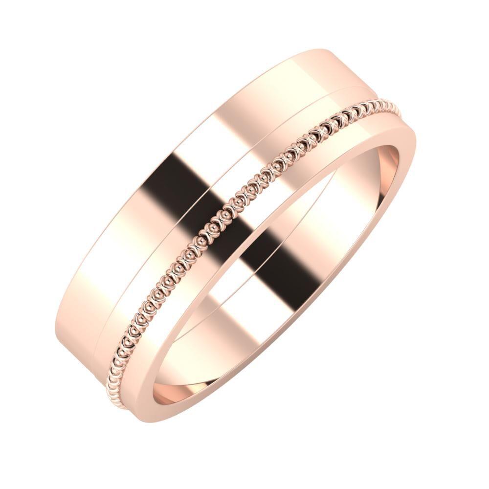 Adela - Afrodita 6mm 14 karátos rosé arany karikagyűrű