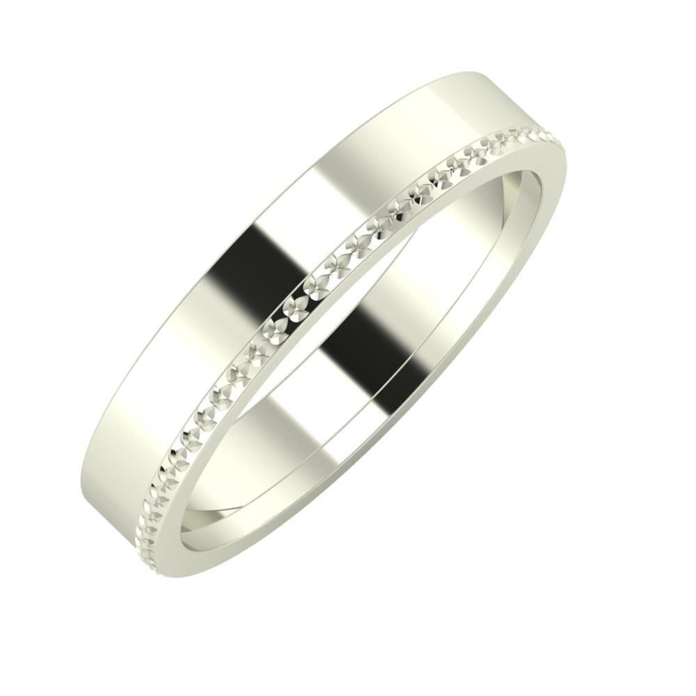 Adela - Ági 4mm 14 karátos fehér arany karikagyűrű