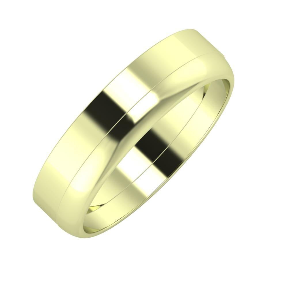 Adela - Ágosta 5mm 14 karátos zöld arany karikagyűrű