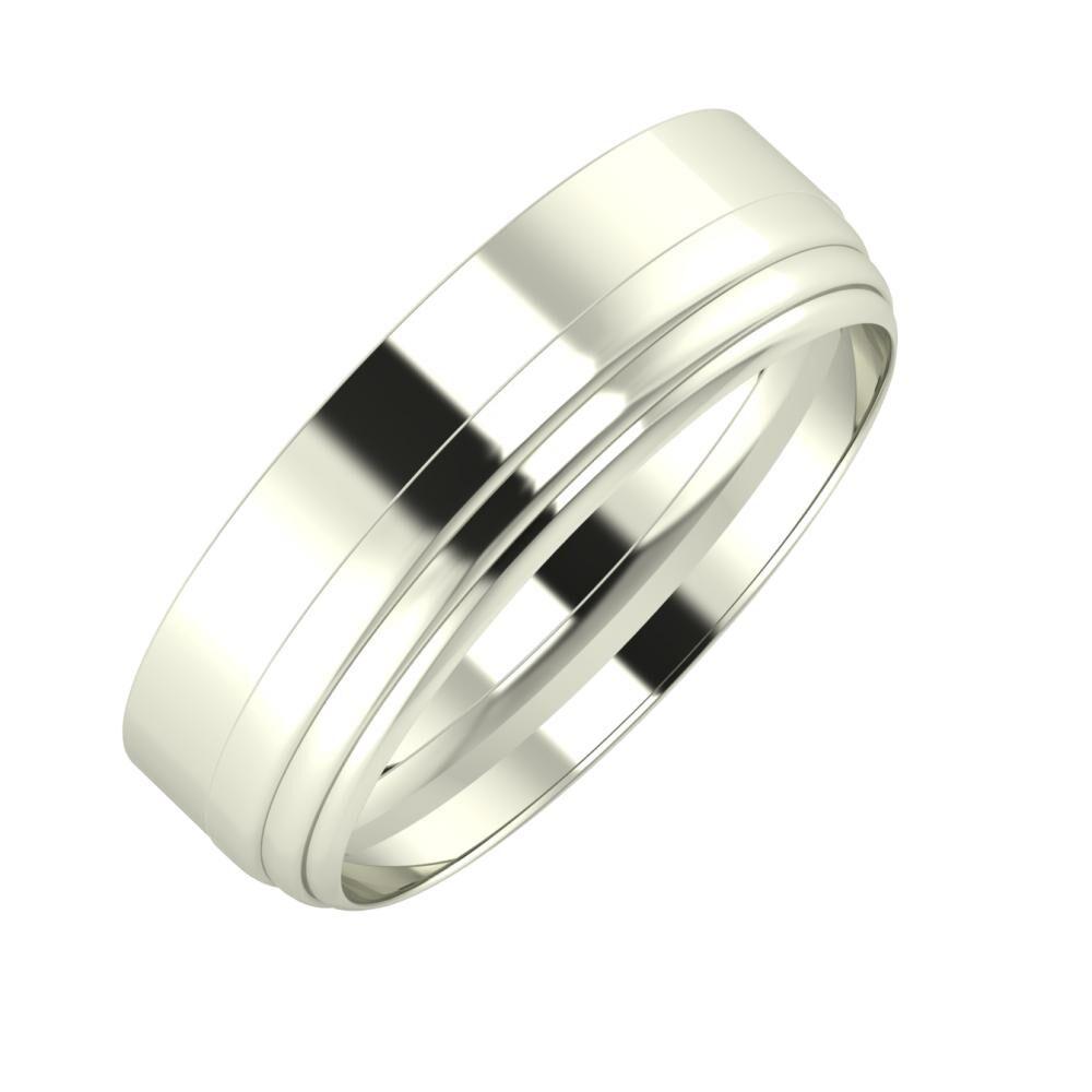 Adela - Aina 6mm 14 karátos fehér arany karikagyűrű
