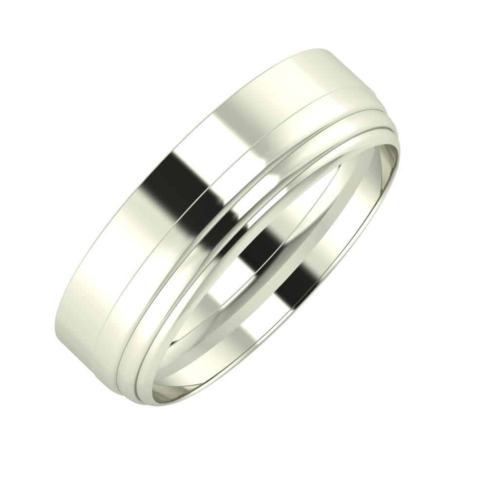 Adela - Aina 6mm 18 karátos fehér arany karikagyűrű