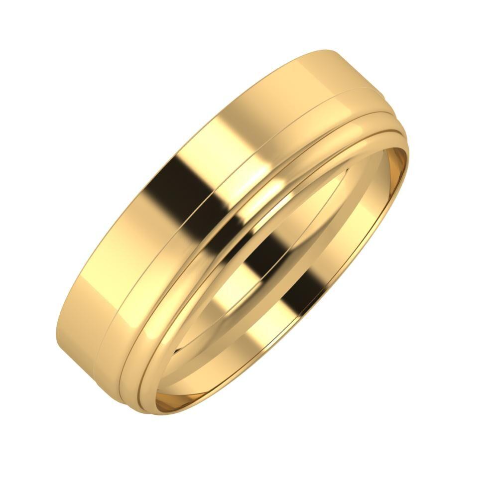 Adela - Aina 6mm 18 karátos sárga arany karikagyűrű