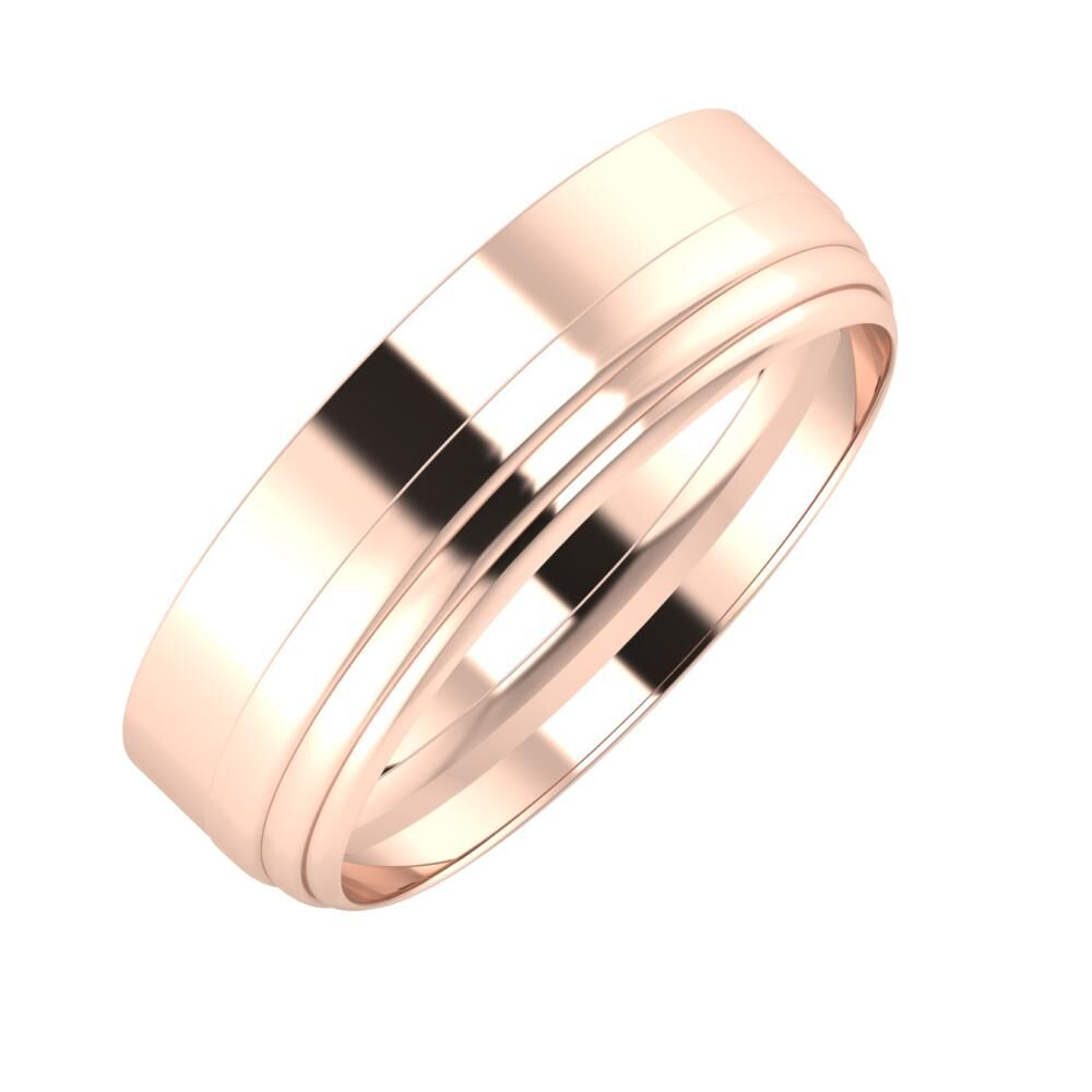 Adela - Aina 6mm 14 karátos rosé arany karikagyűrű