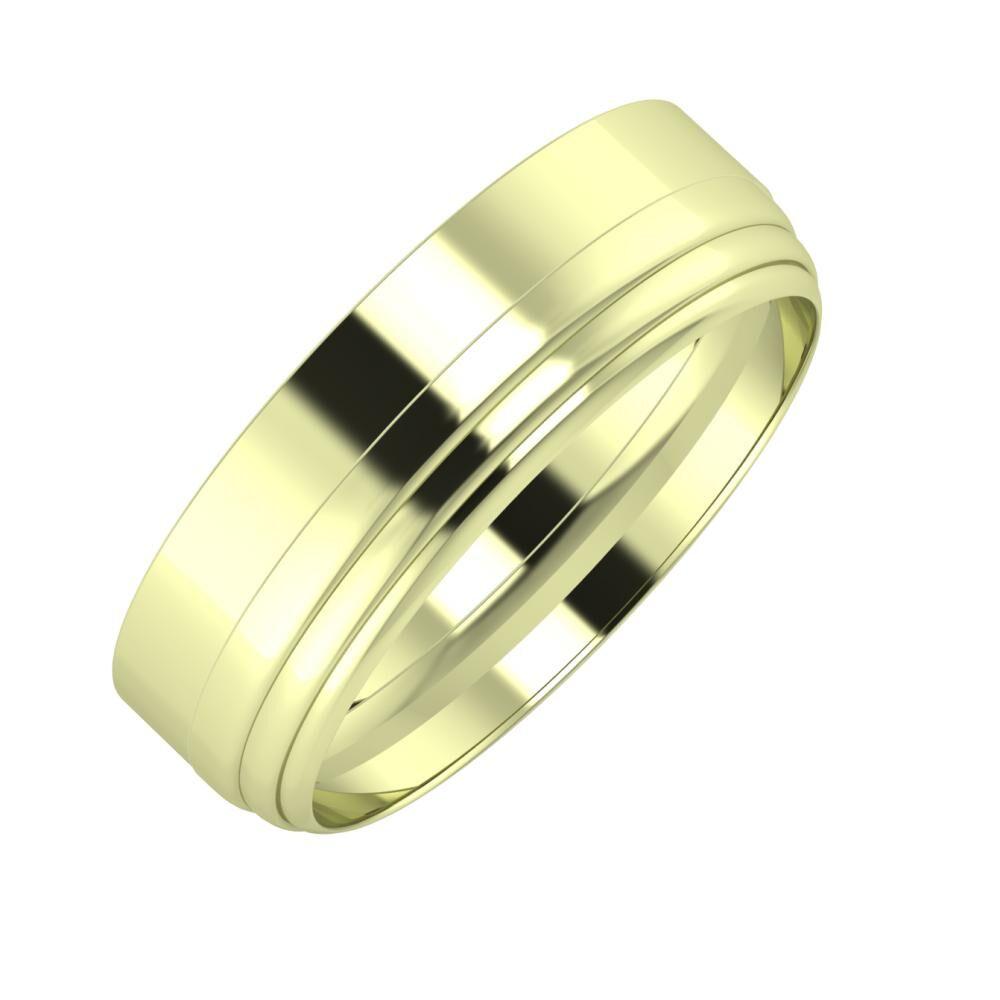 Adela - Aina 6mm 14 karátos zöld arany karikagyűrű