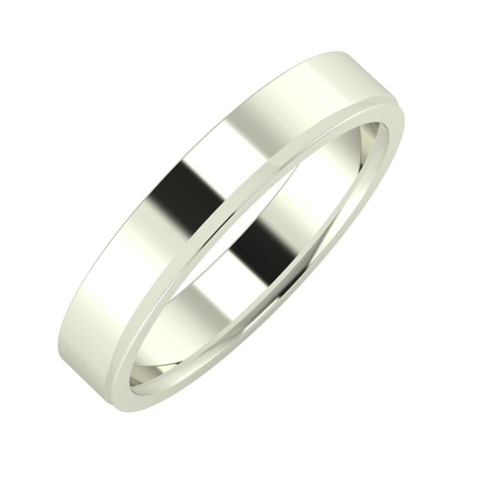 Adela - Aisa 4mm 14 karátos fehér arany karikagyűrű