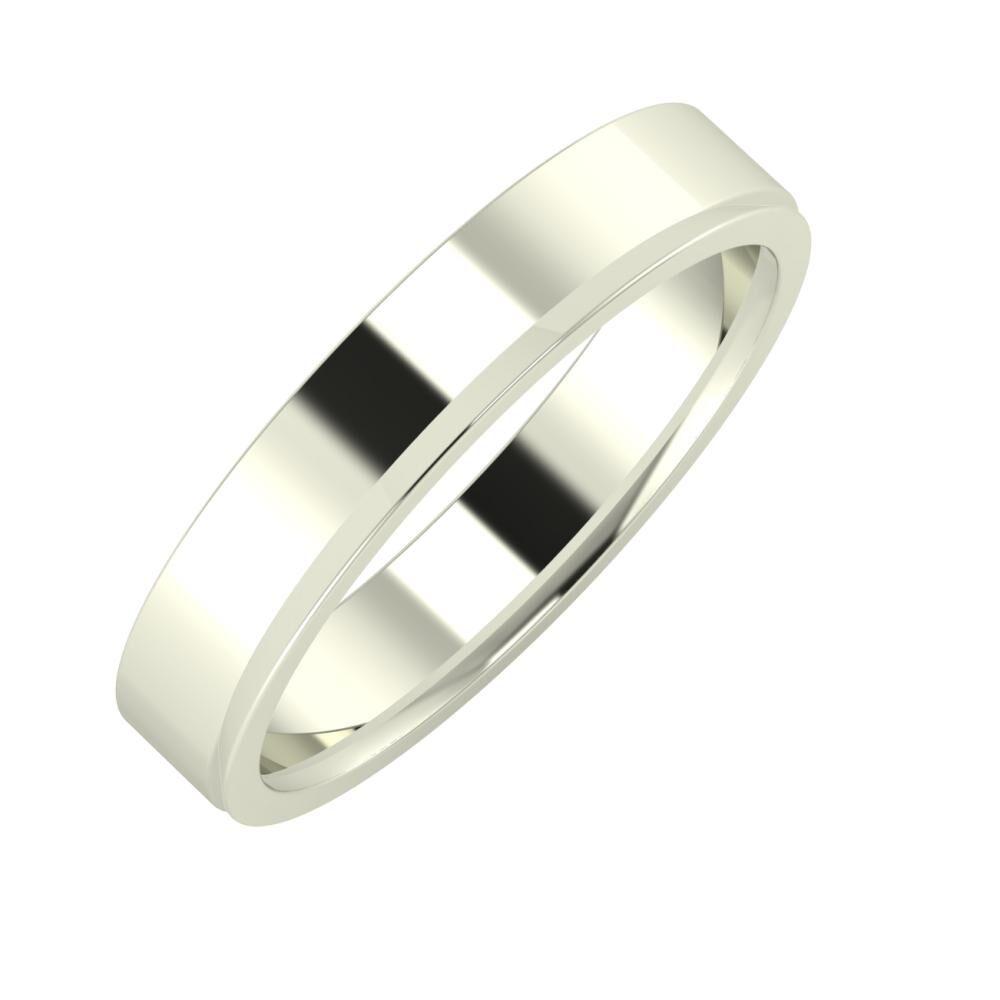 Adela - Aisa 4mm 18 karátos fehér arany karikagyűrű