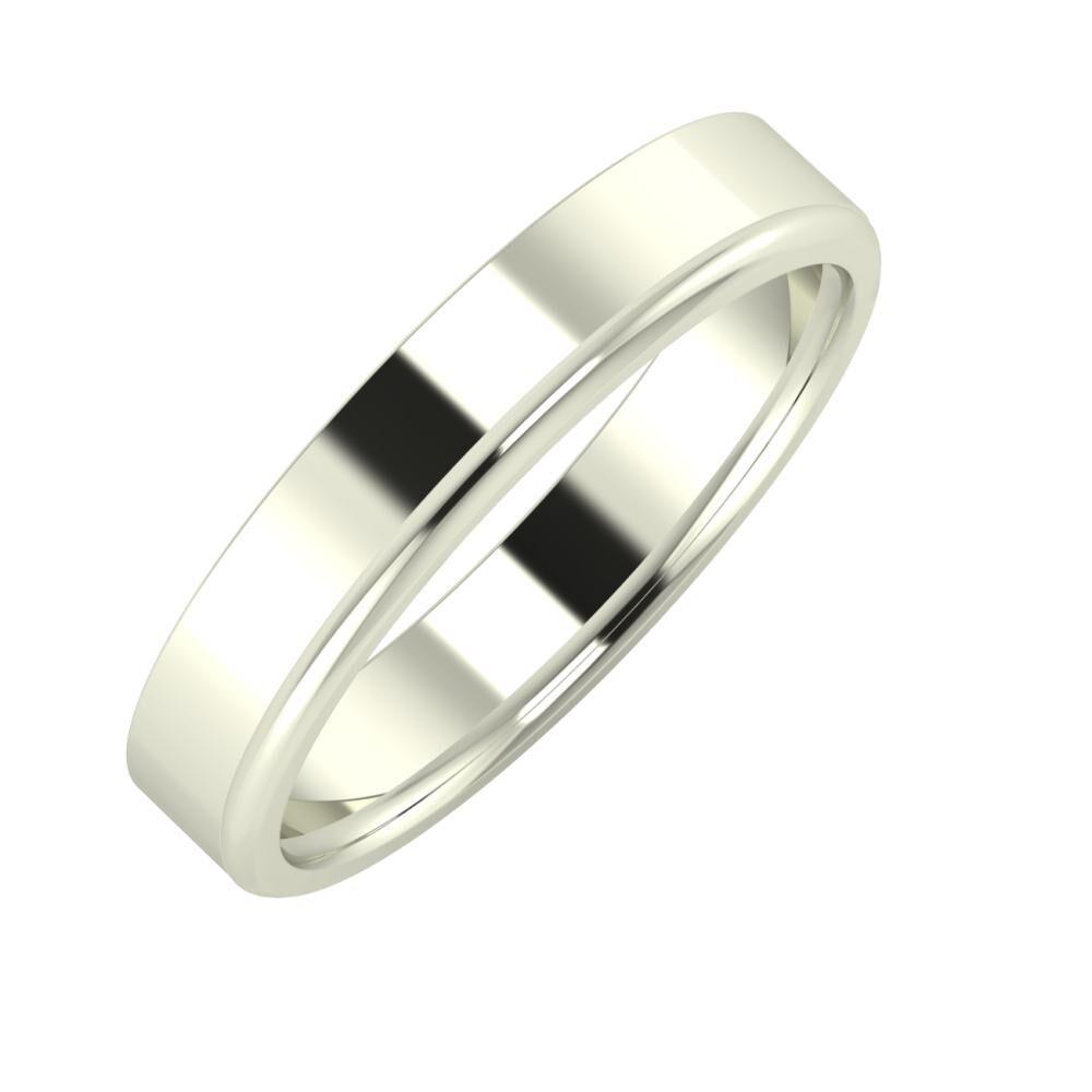 Adela - Aletta 4mm 18 karátos fehér arany karikagyűrű