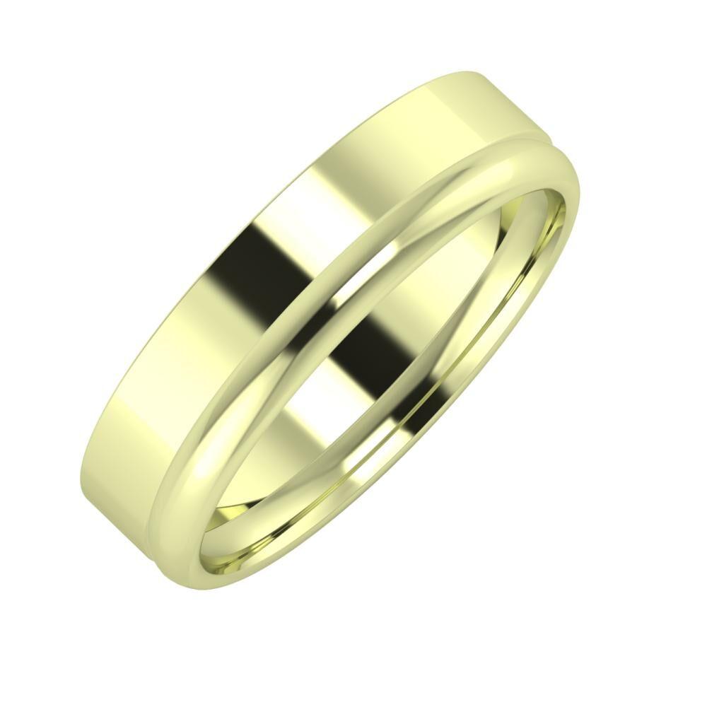 Adela - Alexa 5mm 14 karátos zöld arany karikagyűrű