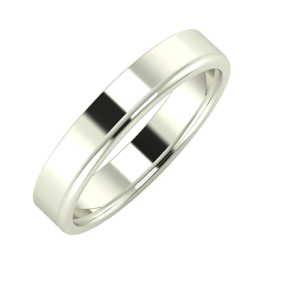 Adela - Alexandra 4mm 14 karátos fehér arany karikagyűrű