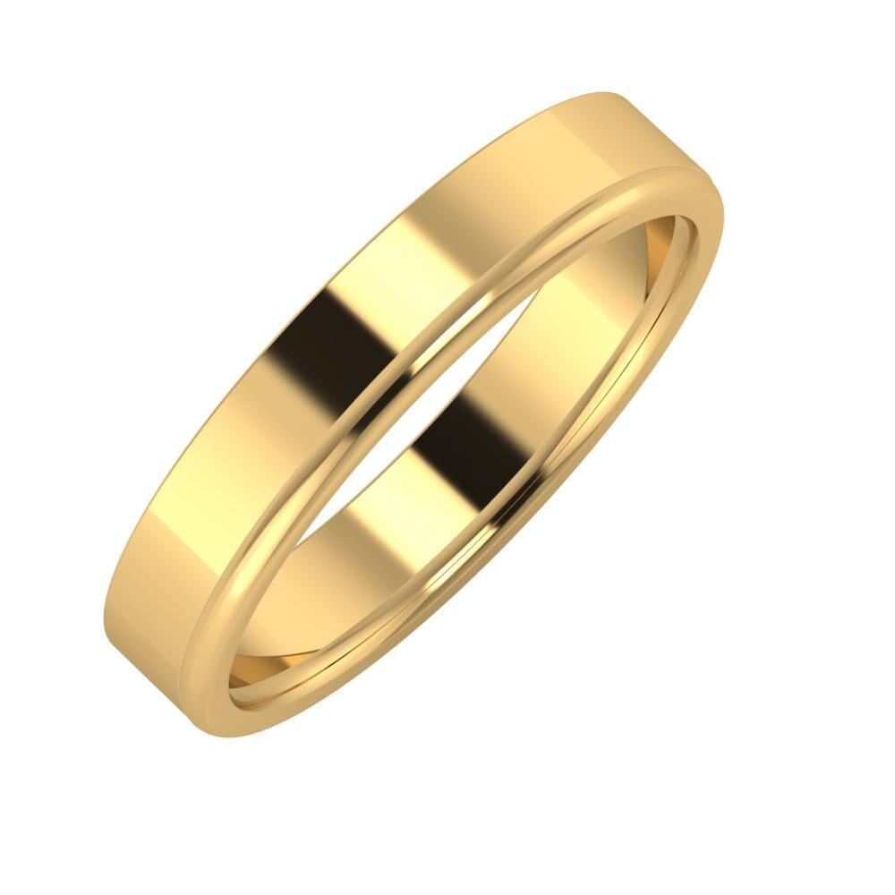 Adela - Alexandra 4mm 22 karátos sárga arany karikagyűrű