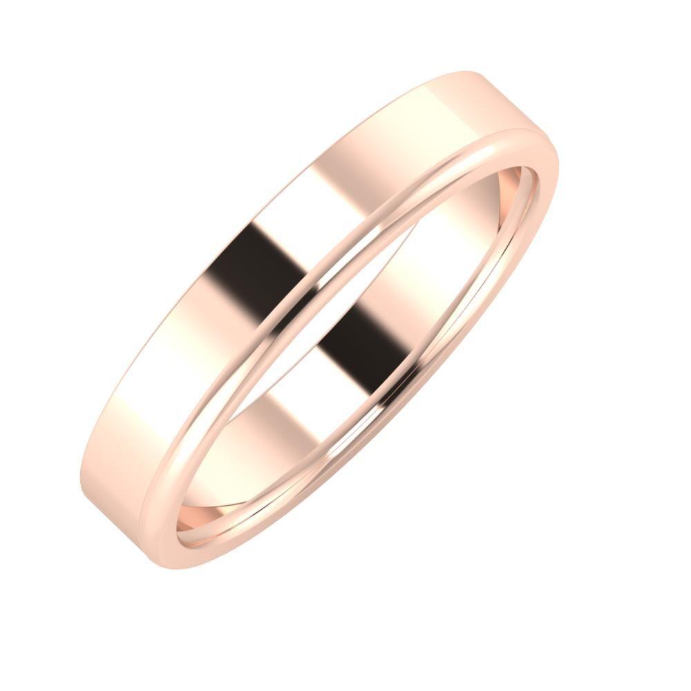 Adela - Alexandra 4mm 18 karátos rosé arany karikagyűrű