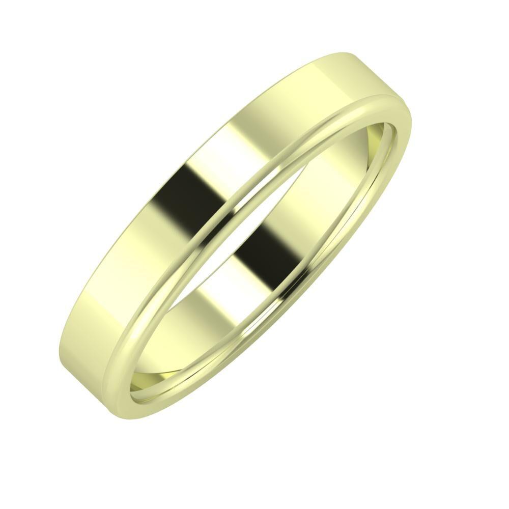 Adela - Alexandra 4mm 14 karátos zöld arany karikagyűrű