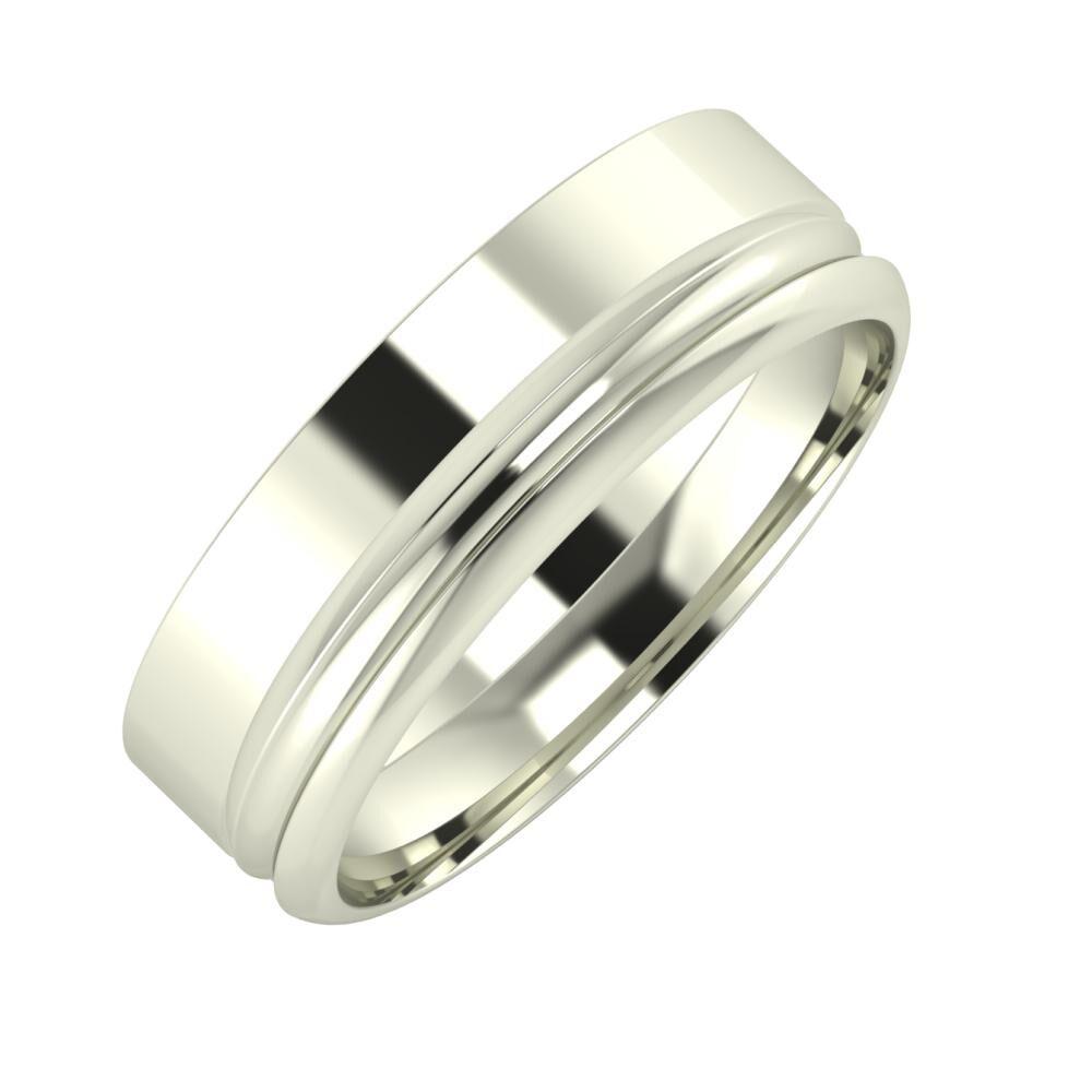 Adela - Alexandrin 6mm 18 karátos fehér arany karikagyűrű