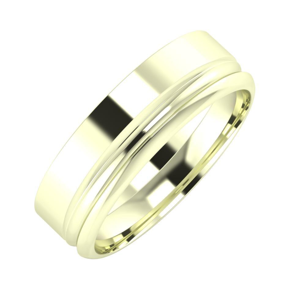 Adela - Alexandrin 6mm 22 karátos fehér arany karikagyűrű