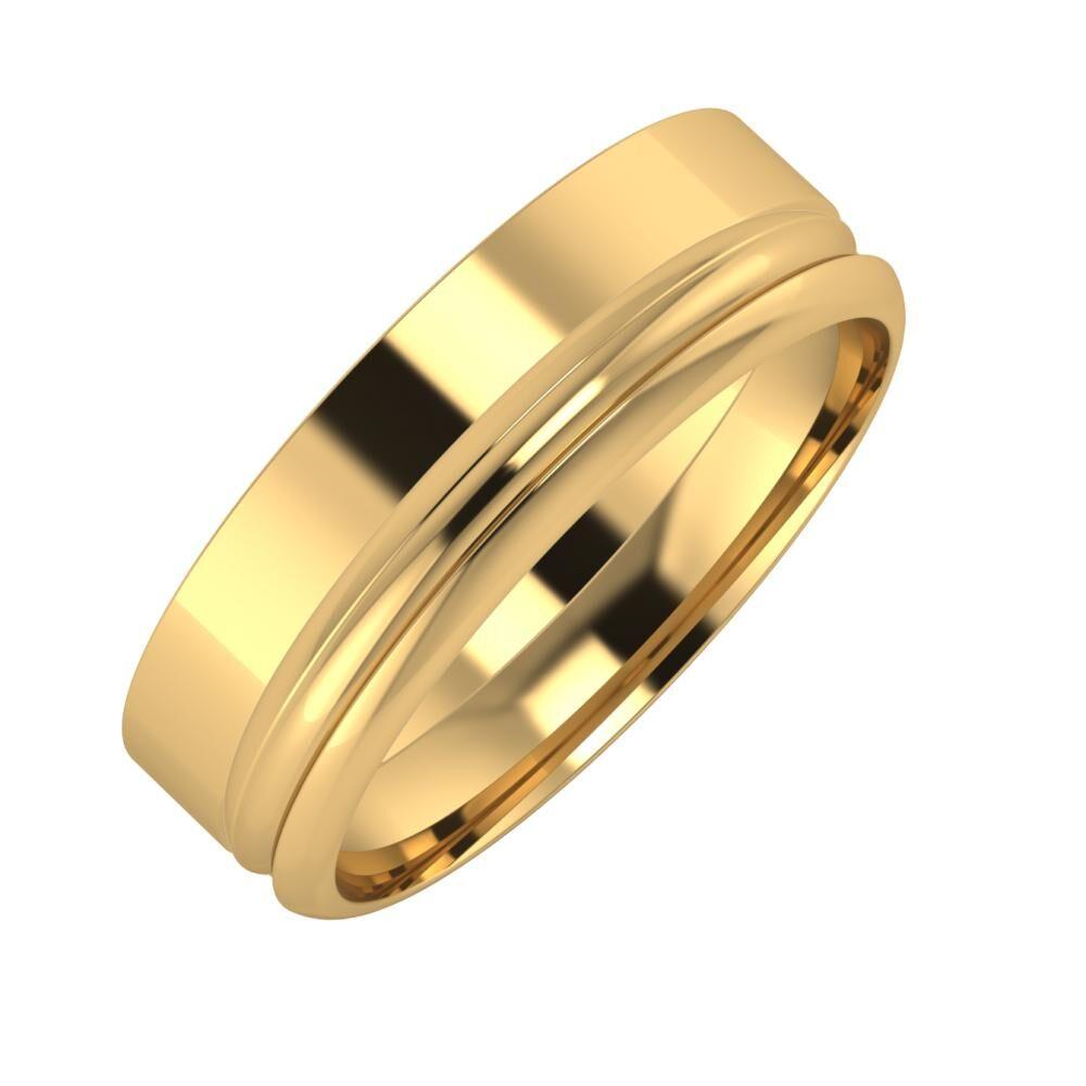 Adela - Alexandrin 6mm 22 karátos sárga arany karikagyűrű