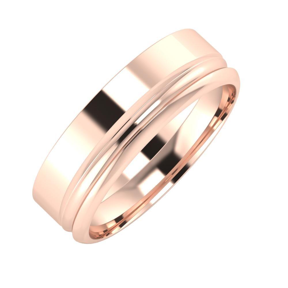 Adela - Alexandrin 6mm 14 karátos rosé arany karikagyűrű