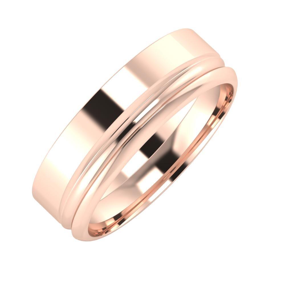 Adela - Alexandrin 6mm 18 karátos rosé arany karikagyűrű