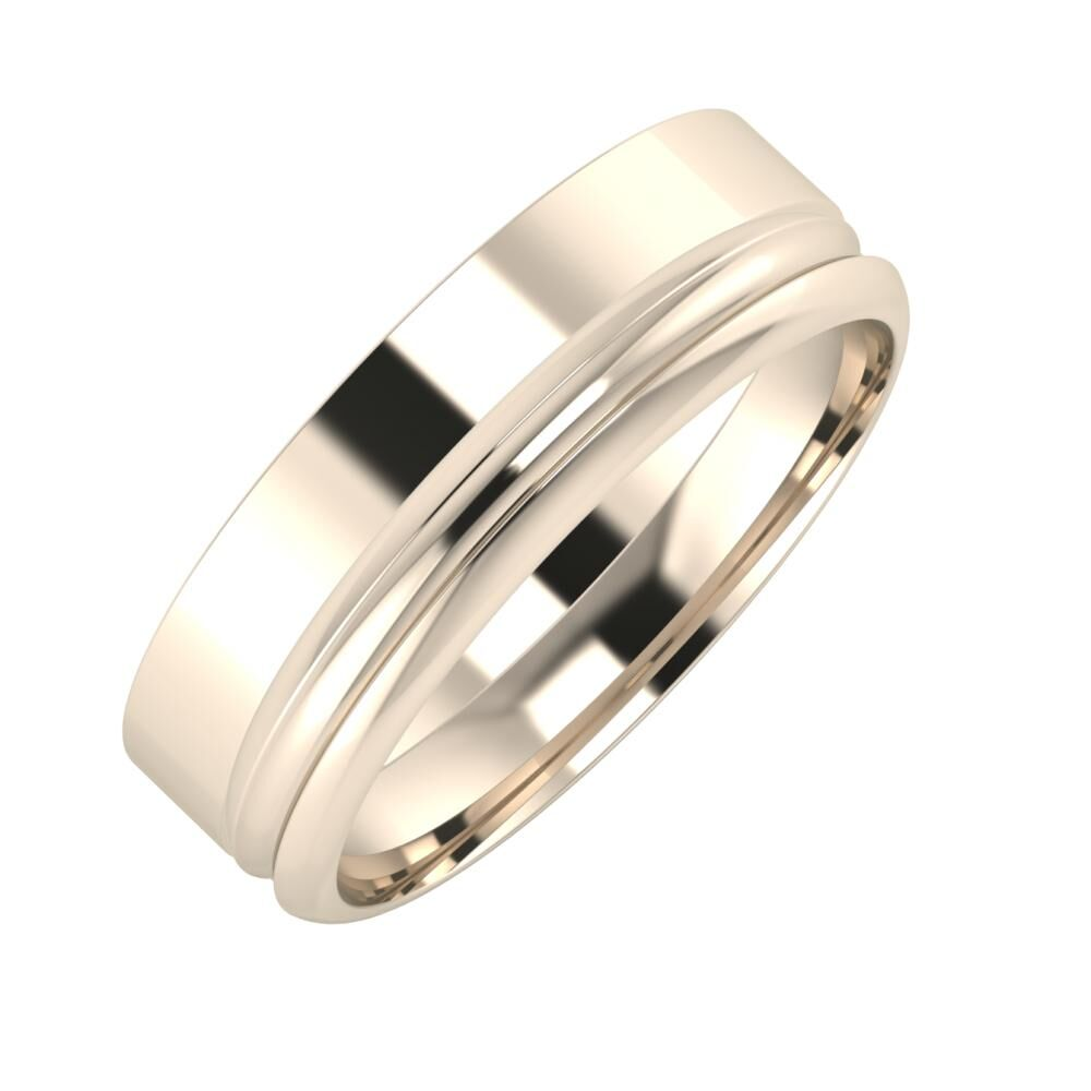 Adela - Alexandrin 6mm 22 karátos rosé arany karikagyűrű