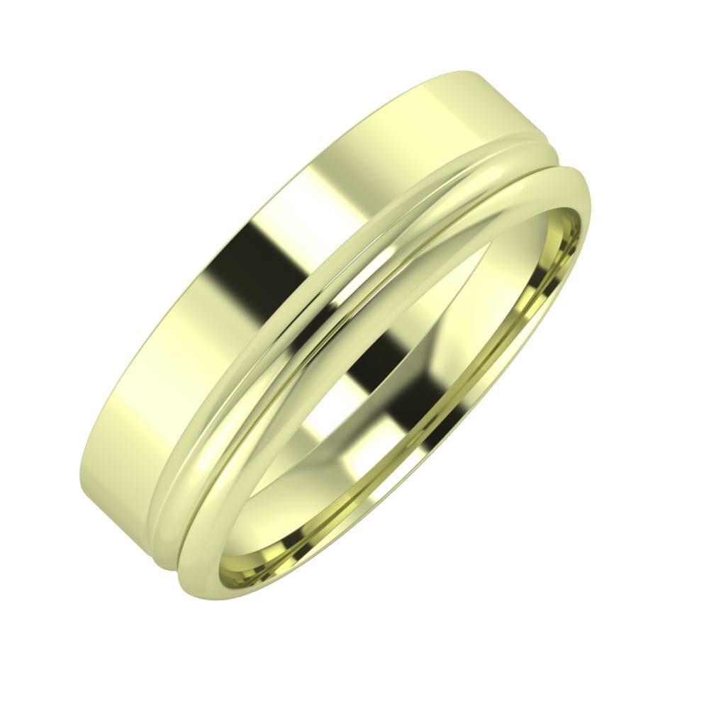 Adela - Alexandrin 6mm 14 karátos zöld arany karikagyűrű