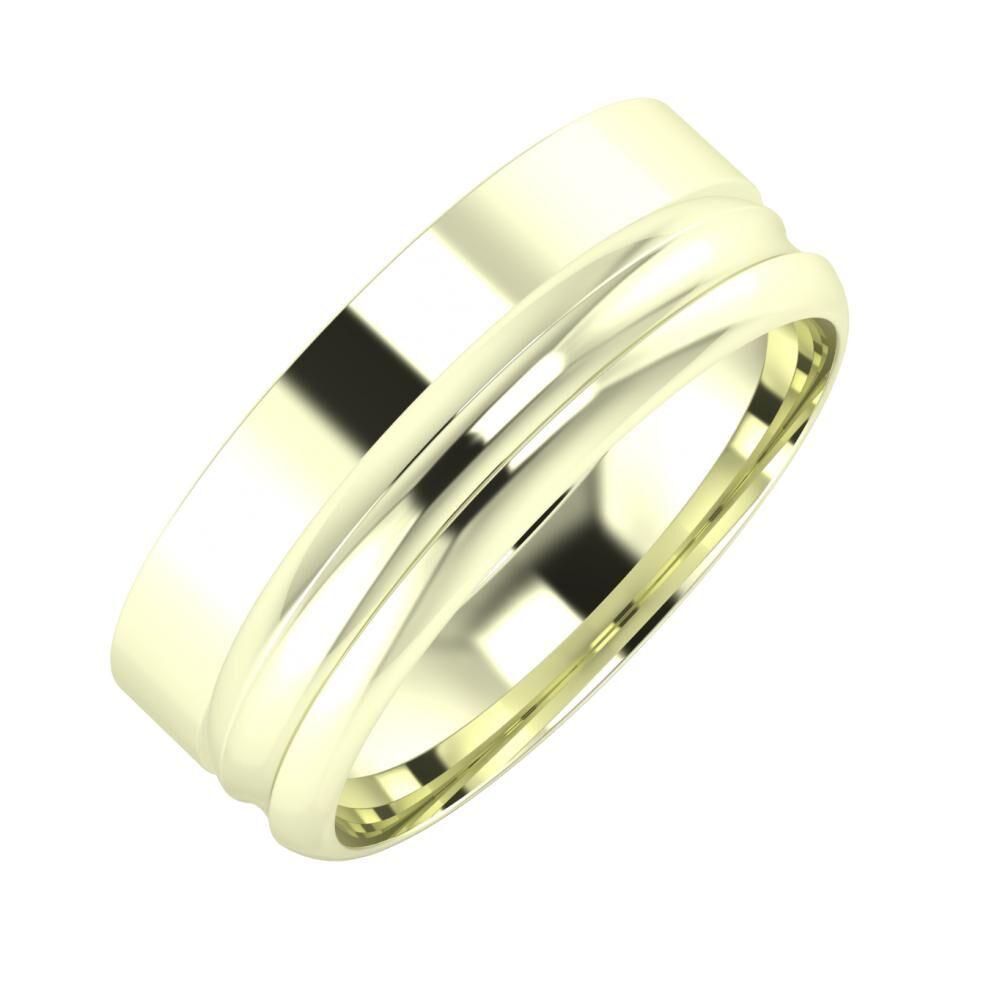 Adela - Alexandrin 7mm 22 karátos fehér arany karikagyűrű
