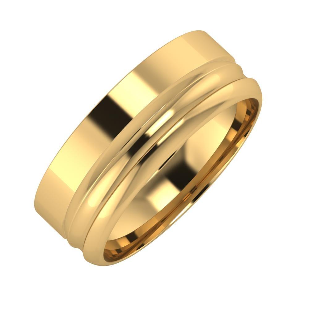Adela - Alexandrin 7mm 18 karátos sárga arany karikagyűrű
