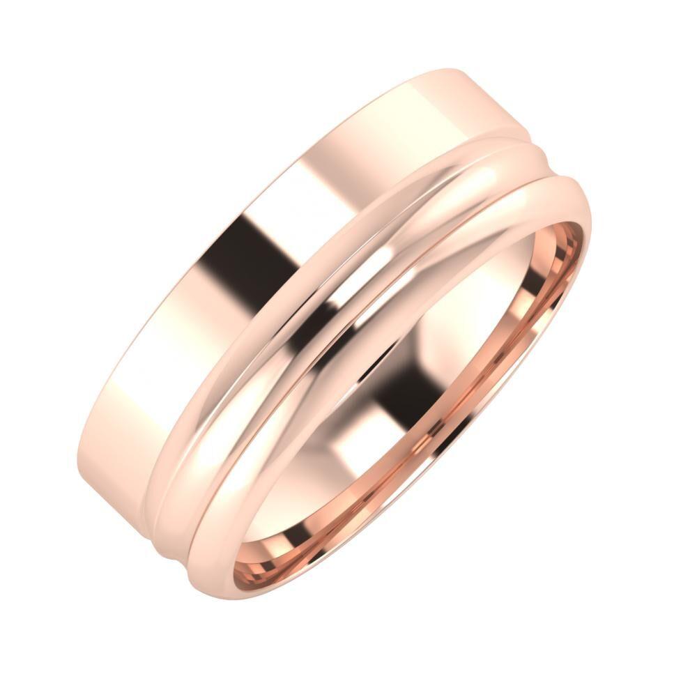Adela - Alexandrin 7mm 14 karátos rosé arany karikagyűrű