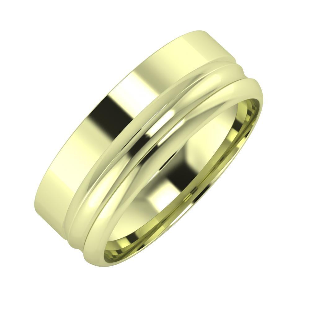 Adela - Alexandrin 7mm 14 karátos zöld arany karikagyűrű