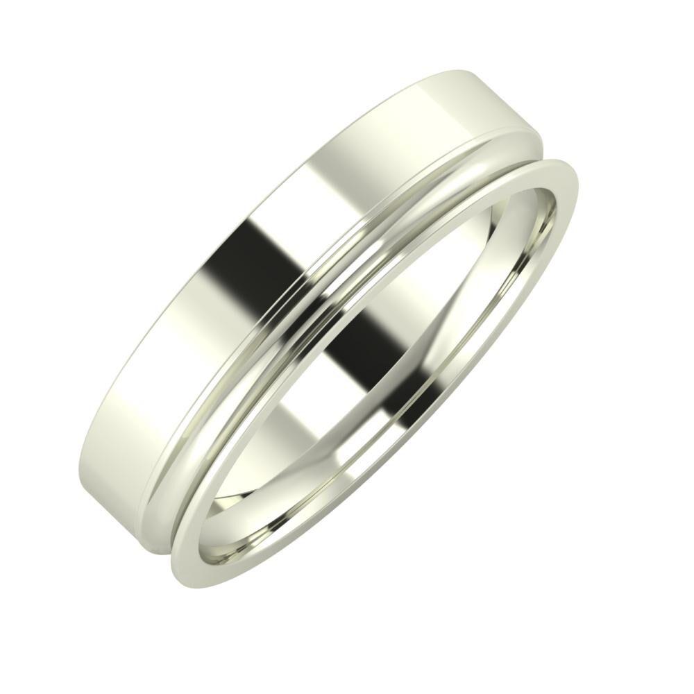 Adela - Alexandrina 5mm 14 karátos fehér arany karikagyűrű